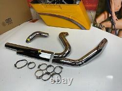 10-16 OEM Harley Touring Exhaust Header Pipe Heat Shields Chrome