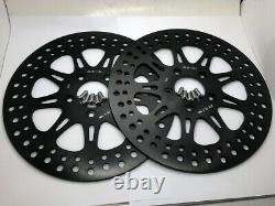 11.8 Black Front Brake Rotors Discs Set Harley Electra Glide Road Glide 08-up