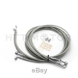 14-16 Stainless Steel Complete Handlebar Cable Kit For Harley 14-17 Touring