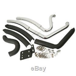 1-3/4 Big Exhaust Drag Pipes Black Heat Shields For Harley Softail FXST 86-17