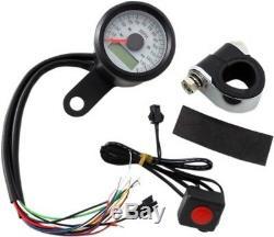 1-7/8 Mini Programmable Electronic Speedometer Speedo Black/White Face f Harley