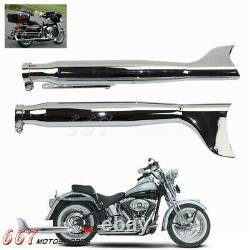 1 Pair Fishtail Slip on Mufflers Exhaust Pipes for Harley Touring 1995-2019