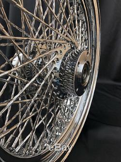 2000-2007 Hd Harley Front 80 Spoke 21 X 3.50 Chromed Wheel Twisted Diamond Spoke