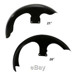 21 26 Wheel Wrap Unpainted Black Front Fender For Harley Touring Street Glide