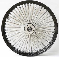 21 3.5 52 Mammoth Fat Stainless Spoke Front Wheel Black Rim 00-07 Harley Touring