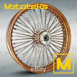 21x3.5 52 Fat Spoke Diamond Rose Gold Wheel For Harley Softail, Dyna, Sportster