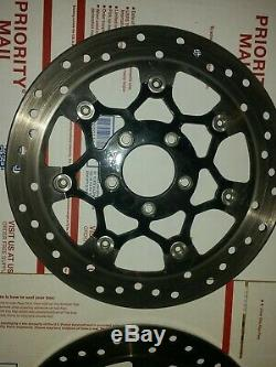 2 Harley Dual-disc Spit 7 Front Black Floating Rotors