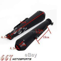 2pcs Black 18 Reverse Cone Muffler Exhaust Pipe for Harley Cafe Racer Bobber