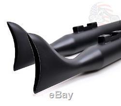 36 Black Fishtail Exhaust Slip On Mufflers 95-16 Harley Touring Bagger Dresser