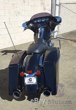 4.5 MUTAZU Matte Black Megaphone Slip-On Mufflers Exhaust 17-up Harley Touring