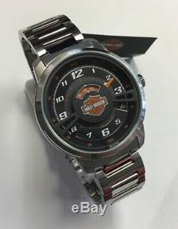 BULOVA Men's Harley-Davidson Black Multi-layered Dial Stainless WATCH 76A162