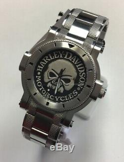 BULOVA Men's Harley-Davidson Signature Collection Skull Stainless WATCH 76A11