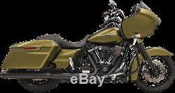Bassani Black 4 Round Slip on Exhaust Mufflers 17-19 Harley Touring FLHX FLTRX