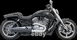 Bassani Black Steel 4 Slip On Exhaust Muffler 09-17 Harley Vrod Muscle VRSCF