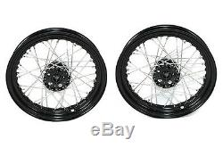Black 18 Servi-Car Rear Wheel Set, Fits Harley G 1937-1950