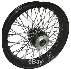 Black 60 Spoke Billet 21 x 3.5 Dual Disc Front Wheel Harley & Custom Models