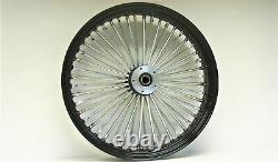 Black/Chrome Ultima 48 Fat King Spoke 21x3.5 Front Dual Disc Wheel Harley 00-07