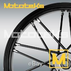 Black Harley Fat Spoke Wheel 21x3.5 Nova Fat Fits Softail Models 2000-present