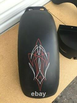 Black Pinstripe Front & Rear Fender Paint Set 180-200 Tire Softail Harley 21
