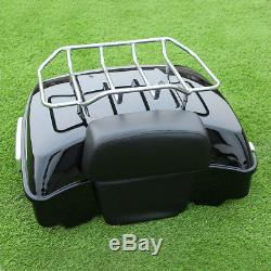 Chopped Tour Pak Pack Trunk Razor Backrest With Rack For Harley Touring 2014-2018