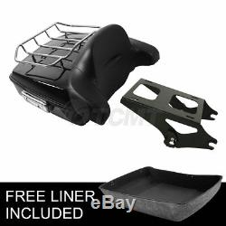Chopped Trunk Tour Pak Pack Backrest +Luggage Rack For Harley Touring