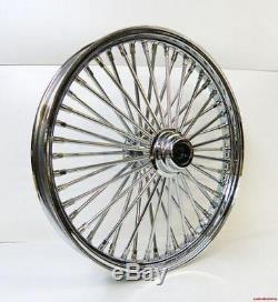 Chrome 26 X 3.5 48 Fat King Spoke Front Wheel Rim Harley Touring Single Disc