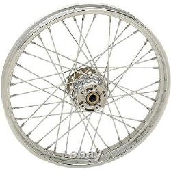 Chrome 40 Spoke Laced 21 Front Wheel Harley 07-17 FLST FXS FLS WithO ABS Softail
