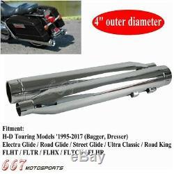 Chrome 4 Slip On Mufflers Exhaust Pipes For Harley Touring Dresser Bagger 95-17
