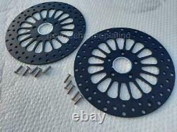 DNA Black 11.8 Super Spoke 2 Front Rotors, 08-21 Harley Touring Dyna, with Bolts