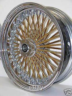 DNA MAMMOTH FAT 52 GOLD SPOKE WHEELS 23x3.5 16x3.5 SOFTAIL OR TOURING HARLEY