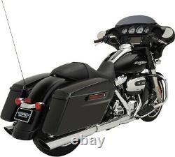 Dual Chrome 3.5 Slip-On Exhaust Slash-Down 1801-1185 For 17-20 Harley FLH FLT