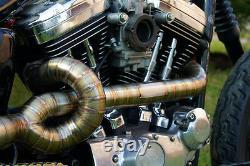 EXHAUST PIPES, Stainless Steel TIG Harley Sportster 883/1200, megaphone