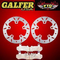 Galfer Front Floating Rotors & Brake Pads 2014-2018 Harley Road Glide DF838V