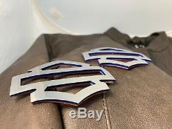 Harley CVO custom tank emblems, stainless steel with blue edges