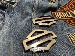 Harley CVO custom tank emblems, stainless steel with red edges