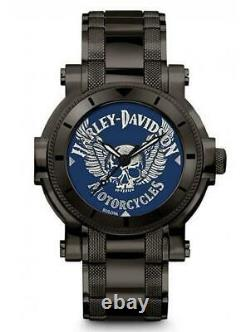 Harley Davidson 78A117 Men's Winged Skull Stainless Steel Watch RRP £229.00