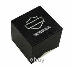 Harley Davidson Bulova 78A118 Black & Silver Skull Watch Box & Papers