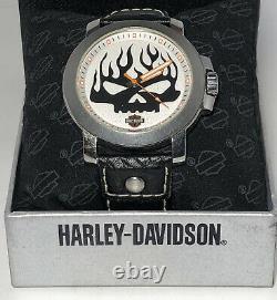 Harley-Davidson Bulova Mens Vintage Willie G Skull Black Strap Watch 76A137