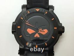 Harley-Davidson Bulova Willie G Skull Orange Black 46MM Mens Watch 78A114