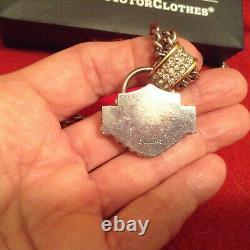 Harley Davidson HD bar & shield BLING rhinestones Jewelry chain necklace pendant