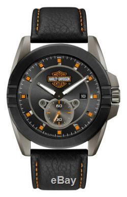 Harley-Davidson Men's Gray-Tone Stainless Steel & Leather Watch 78B182