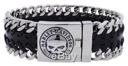 Harley-Davidson Men's Hidden Clasp Willie G Skull Bracelet, Black HSB0183