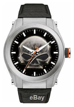 Harley-Davidson Men's Multi-Layer Willie G Skull Medallion Watch, Leather 76A156