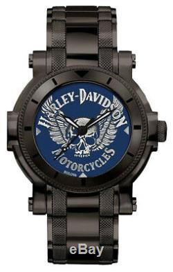 Harley-Davidson Men's Winged Skull Stainless Steel Watch, Gunmetal Finish 78A117