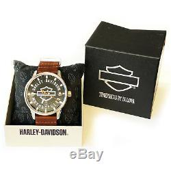 Harley Davidson Mens Open Bar & Shield Bulova Watch Limited Edition