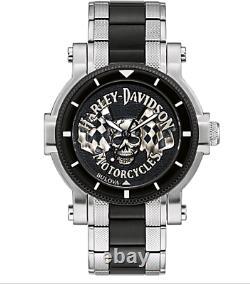 Harley Davidson Skull & Flags Bulova 78A124 Mens Watch Box & Papers USA Seller
