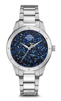 Harley-Davidson Women's Blue Crystal Rock Sparkles Stainless Steel Watch 76L188