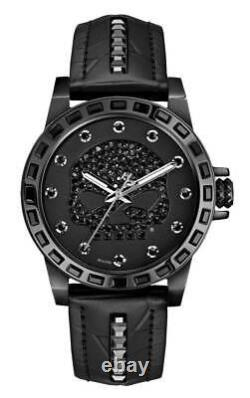 Harley-Davidson Women's Willie G Skull Crystal Watch, Studs Leather Strap 78L126