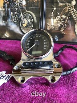 Harley Dyna & Sportster Speedometer Speedo Chrome Mount Bracket Short Risers