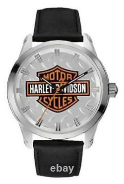 Harley-davidson Men's Bar & Shield Diamond Plate Stainless Steel Watch 76a145